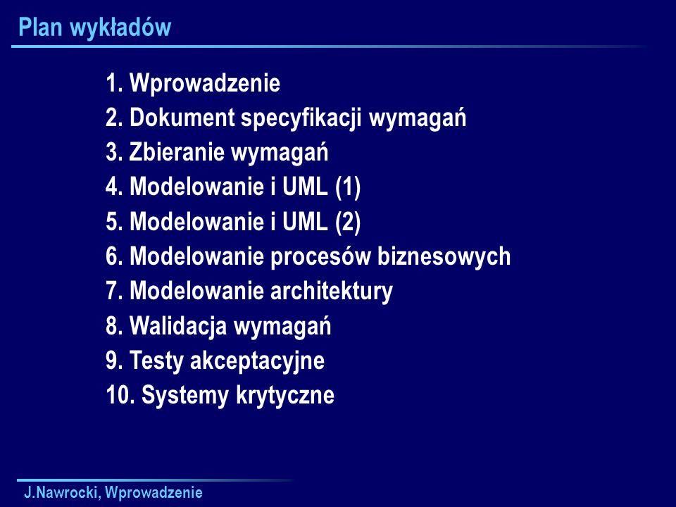J.Nawrocki, Wprowadzenie Plan wykładów 1. Wprowadzenie 2.