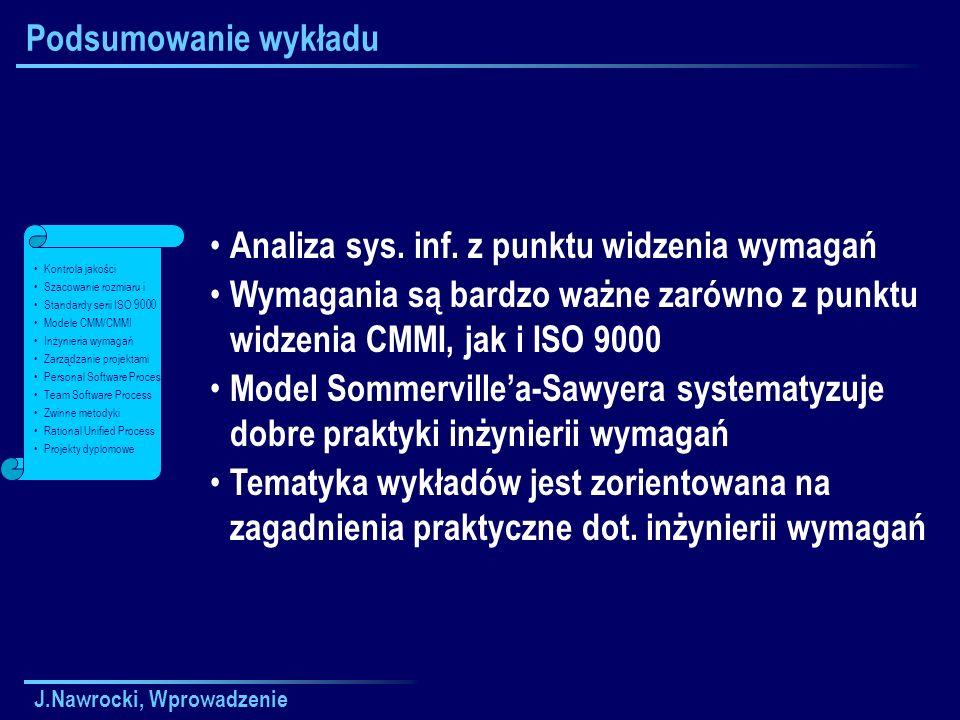 J.Nawrocki, Wprowadzenie Podsumowanie wykładu Analiza sys.