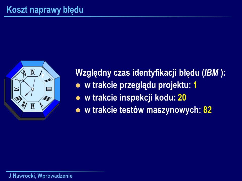 J.Nawrocki, Wprowadzenie Koszt naprawy błędu Względny czas identyfikacji błędu ( IBM ): w trakcie przeglądu projektu: 1 w trakcie inspekcji kodu: 20 w trakcie testów maszynowych: 82