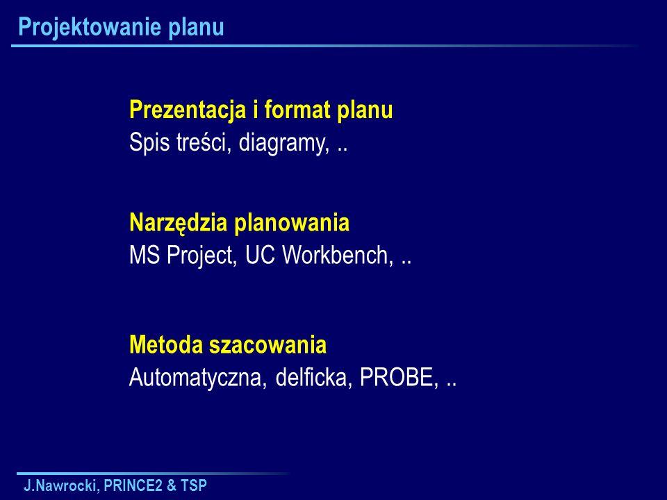 J.Nawrocki, PRINCE2 & TSP Projektowanie planu Prezentacja i format planu Spis treści, diagramy,.. Narzędzia planowania MS Project, UC Workbench,.. Met
