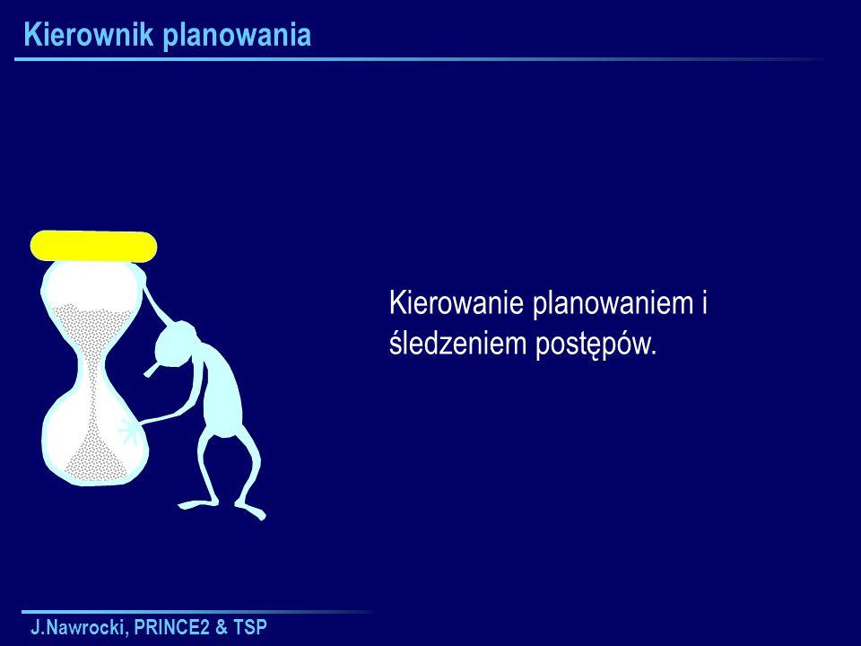 J.Nawrocki, PRINCE2 & TSP Kierownik planowania Kierowanie planowaniem i śledzeniem postępów.