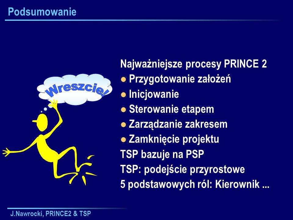 J.Nawrocki, PRINCE2 & TSP Podsumowanie Najważniejsze procesy PRINCE 2 Przygotowanie założeń Inicjowanie Sterowanie etapem Zarządzanie zakresem Zamknię