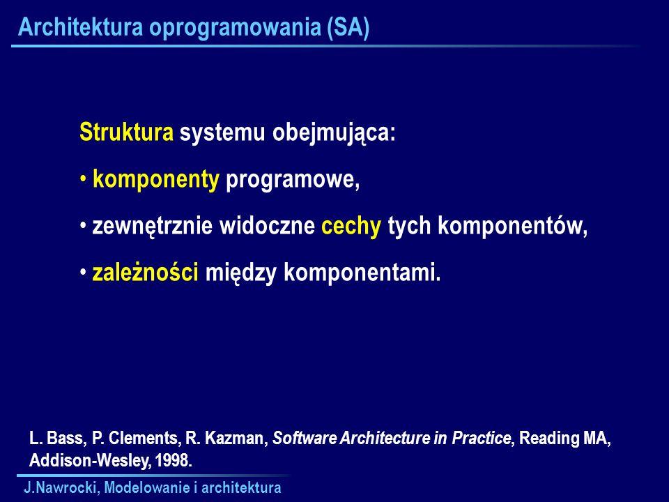 J.Nawrocki, Modelowanie i architektura Architektura oprogramowania (SA) Struktura systemu obejmująca: komponenty programowe, zewnętrznie widoczne cech