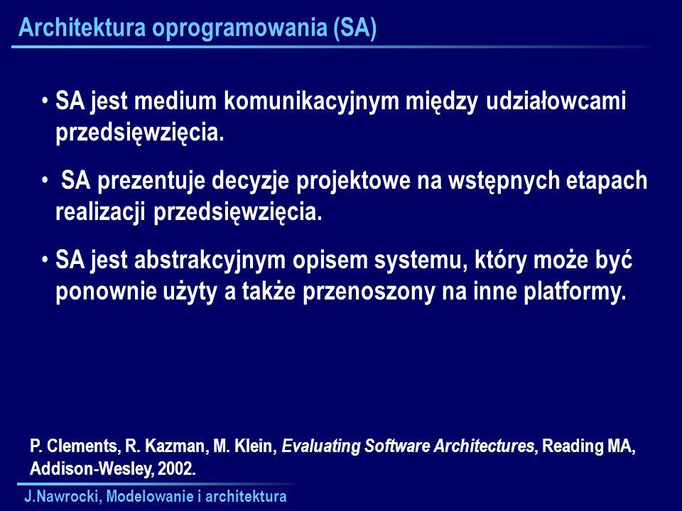 J.Nawrocki, Modelowanie i architektura Architektura oprogramowania (SA) SA jest medium komunikacyjnym między udziałowcami przedsięwzięcia. SA prezentu
