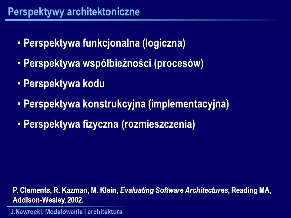 J.Nawrocki, Modelowanie i architektura Perspektywy architektoniczne Perspektywa funkcjonalna (logiczna) Perspektywa współbieżności (procesów) Perspekt
