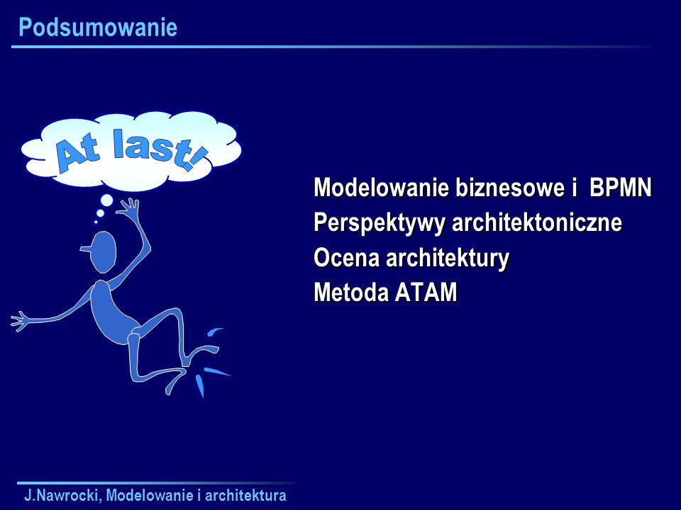 J.Nawrocki, Modelowanie i architektura Podsumowanie Modelowanie biznesowe i BPMN Perspektywy architektoniczne Ocena architektury Metoda ATAM