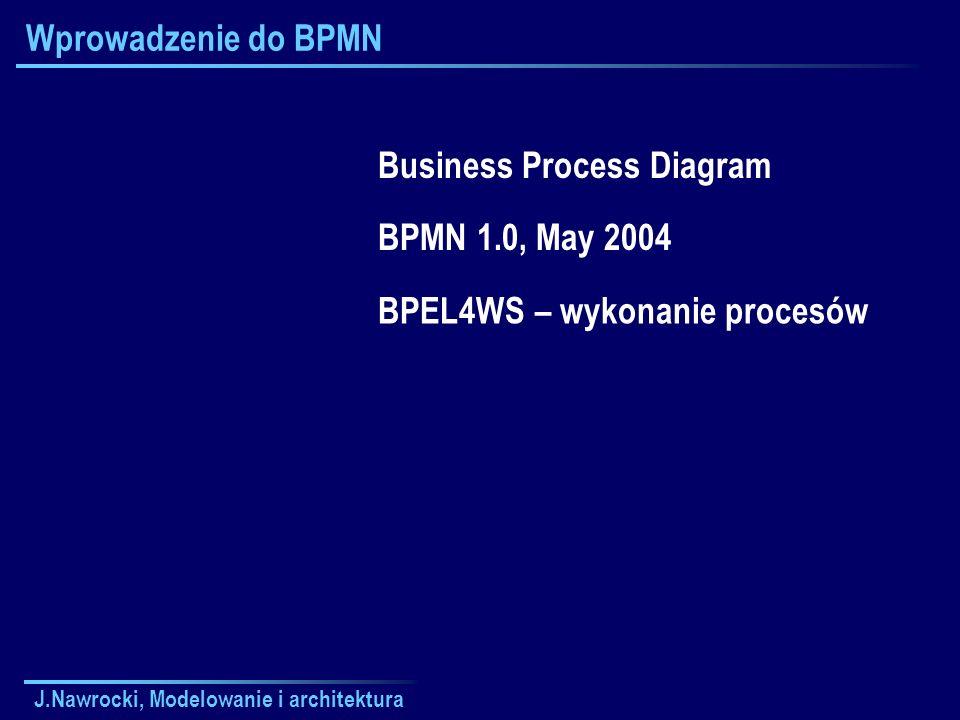 J.Nawrocki, Modelowanie i architektura Wprowadzenie do BPMN Business Process Diagram BPMN 1.0, May 2004 BPEL4WS – wykonanie procesów