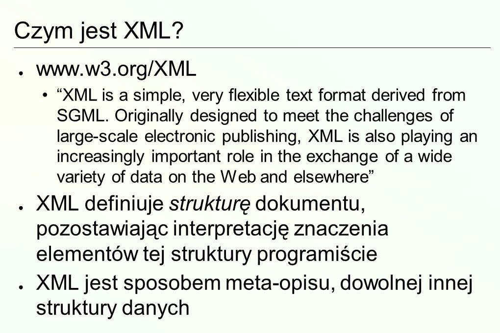 Elementy języka: instrukcje sterujące Instrukcje sterujące nie są częścią dokumentu, ale są wykrywane i sygnalizowane przez parsery XML Instrukcja sterująca wygląda następująco: Prolog w XML jest przykładem instrukcji sterującej