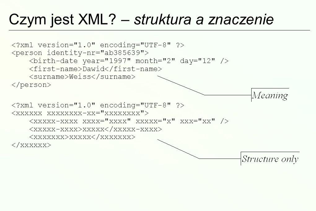 Krótka historia XML XML powstał jako uproszczenie SGML Standard Generalized Markup Language (~1960/70), standard ISO SGML jest bardzo rozbudowany, kosztowny w implementacji i długotrwały w opanowaniu XML – podzbiór SGML, 1998 (specyfikacja tylko ok.