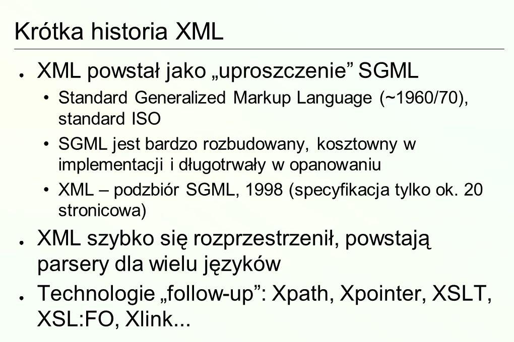 Walidacja XML Dokument XML określamy jako poprawny (ang.
