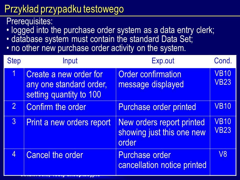 J.Nawrocki, Testy akceptacyjne Proces testowania ręcznego Testowanie ręczne bez skryptów Nieprecyzyjne skrypty testów ręcznych Szczegółowe skrypty ręczne: 1.Przeczytaj co masz zrobić 2.Wprowadź dane 3.Sprawdź, czy dobrze działa
