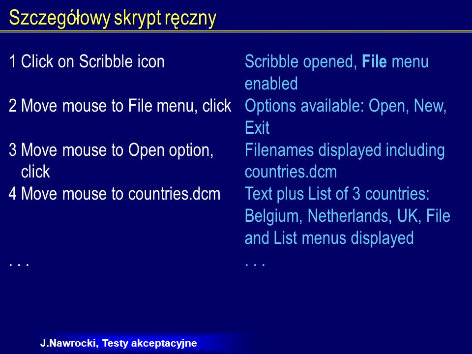J.Nawrocki, Testy akceptacyjne Szczegółowy skrypt ręczny 1 Click on Scribble iconScribble opened, File menu enabled 2 Move mouse to File menu, clickOp