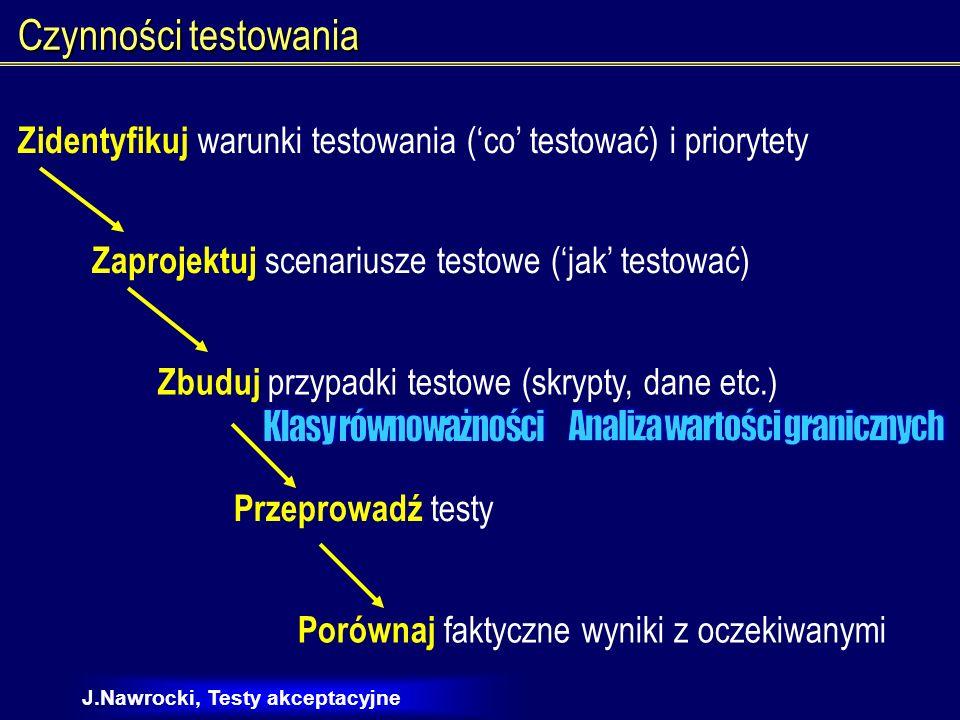 J.Nawrocki, Testy akceptacyjne Księgarnia elektroniczna