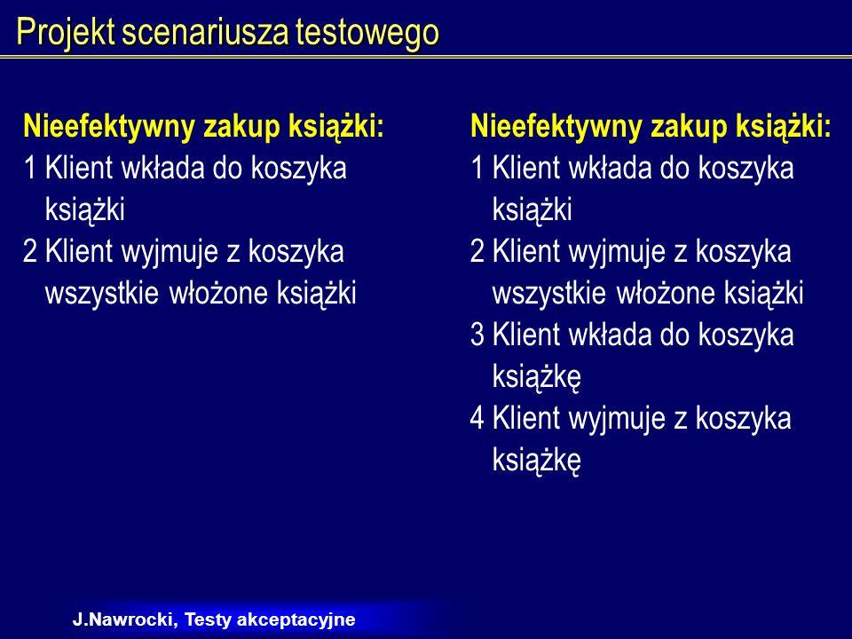 J.Nawrocki, Testy akceptacyjne Projekt scenariuszy w oparciu o przypadki użycia Zakup książki 1.