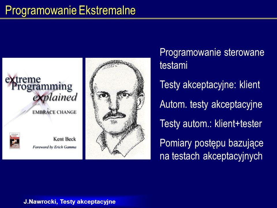 J.Nawrocki, Testy akceptacyjne Programowanie Ekstremalne Testy akceptacyjne jako miara postępów