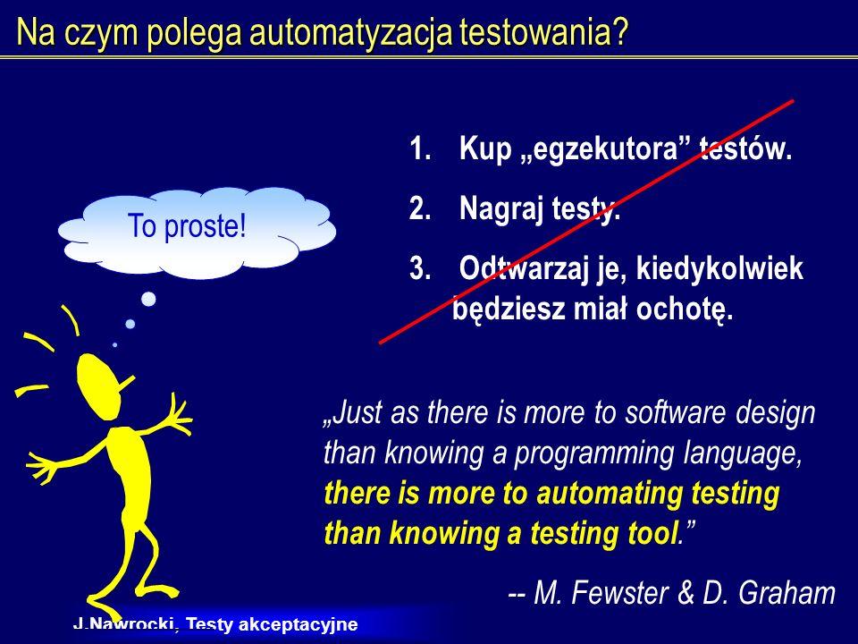J.Nawrocki, Testy akceptacyjne Testy ręczne czy automatyczne.