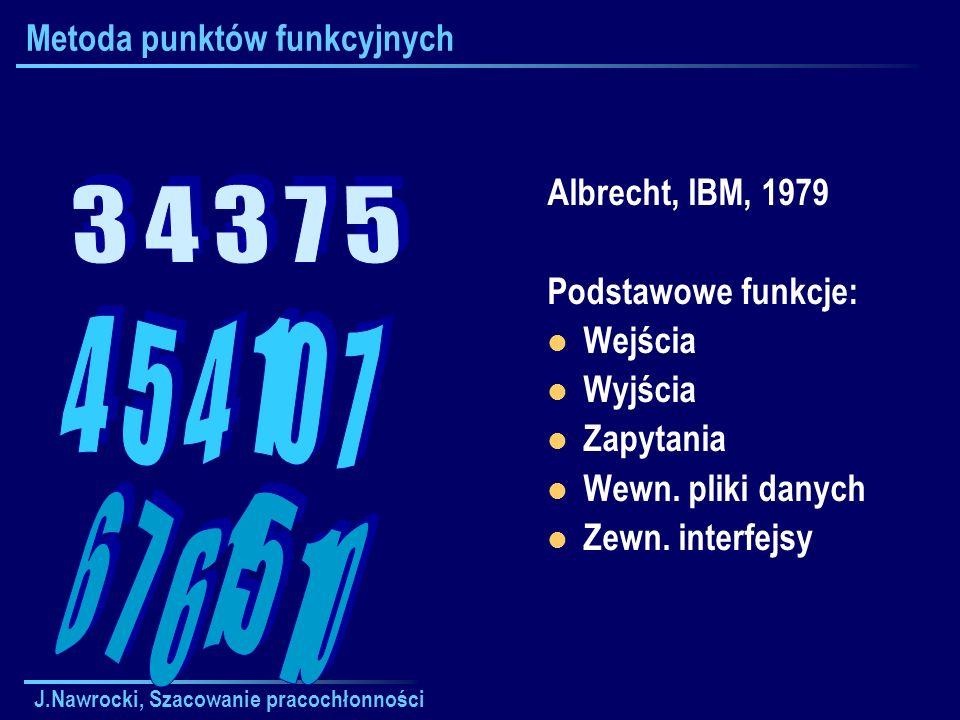 J.Nawrocki, Szacowanie pracochłonności Metoda punktów funkcyjnych Albrecht, IBM, 1979 Podstawowe funkcje: Wejścia Wyjścia Zapytania Wewn. pliki danych