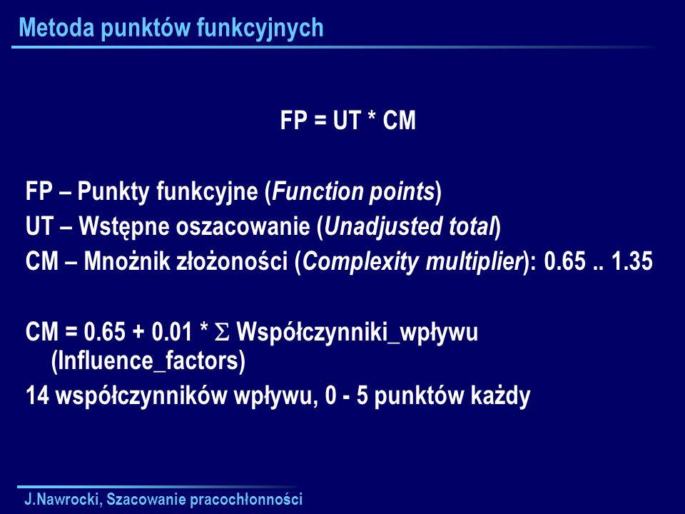 J.Nawrocki, Szacowanie pracochłonności Metoda punktów funkcyjnych FP = UT * CM FP – Punkty funkcyjne ( Function points ) UT – Wstępne oszacowanie ( Un