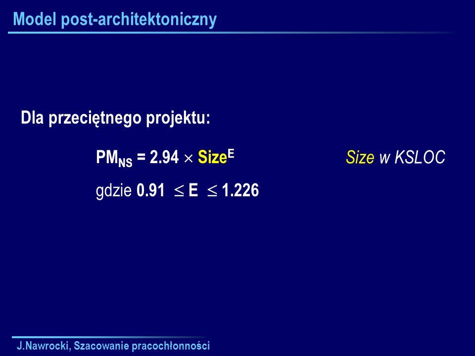 J.Nawrocki, Szacowanie pracochłonności Model post-architektoniczny Size w KSLOC Dla przeciętnego projektu: PM NS = 2.94 Size E gdzie 0.91 E 1.226