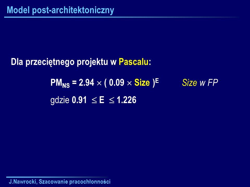 J.Nawrocki, Szacowanie pracochłonności Model post-architektoniczny Size w FP Dla przeciętnego projektu w Pascalu: PM NS = 2.94 ( 0.09 Size ) E gdzie 0