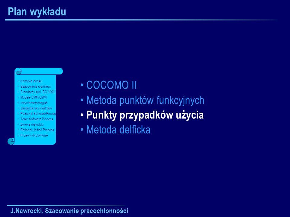 J.Nawrocki, Szacowanie pracochłonności Plan wykładu COCOMO II Metoda punktów funkcyjnych Punkty przypadków użycia Metoda delficka Kontrola jakości Sza