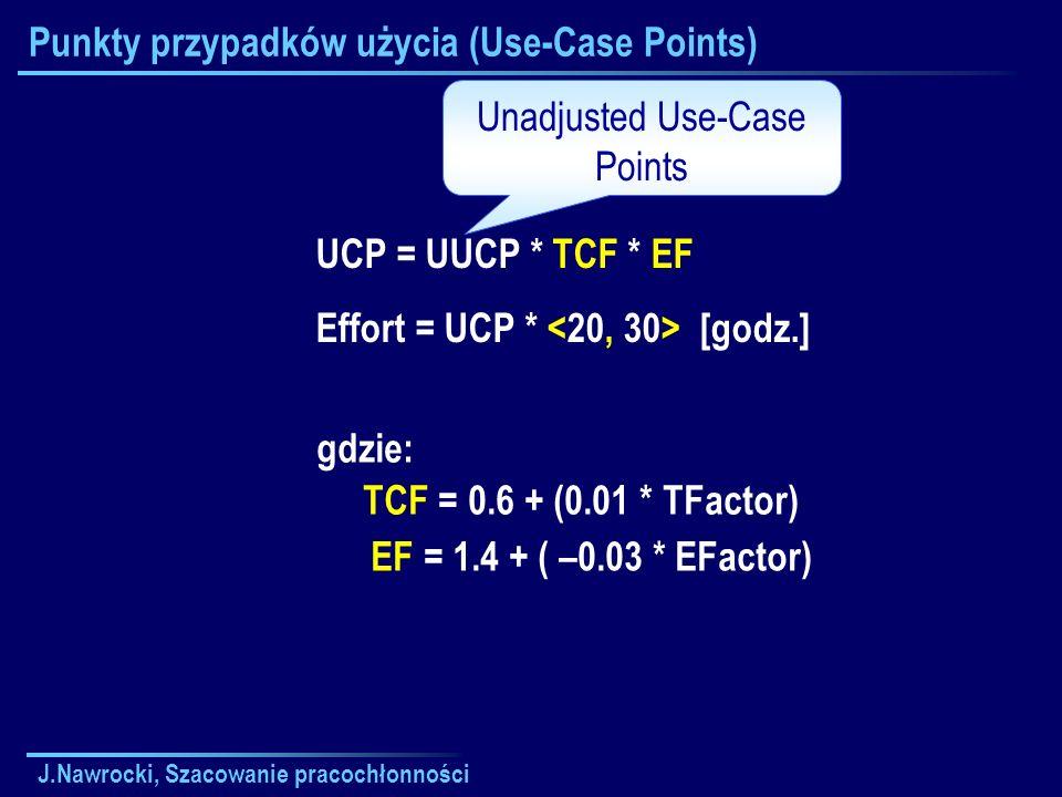 J.Nawrocki, Szacowanie pracochłonności Punkty przypadków użycia (Use-Case Points) gdzie: TCF = 0.6 + (0.01 * TFactor) EF = 1.4 + ( –0.03 * EFactor) UC