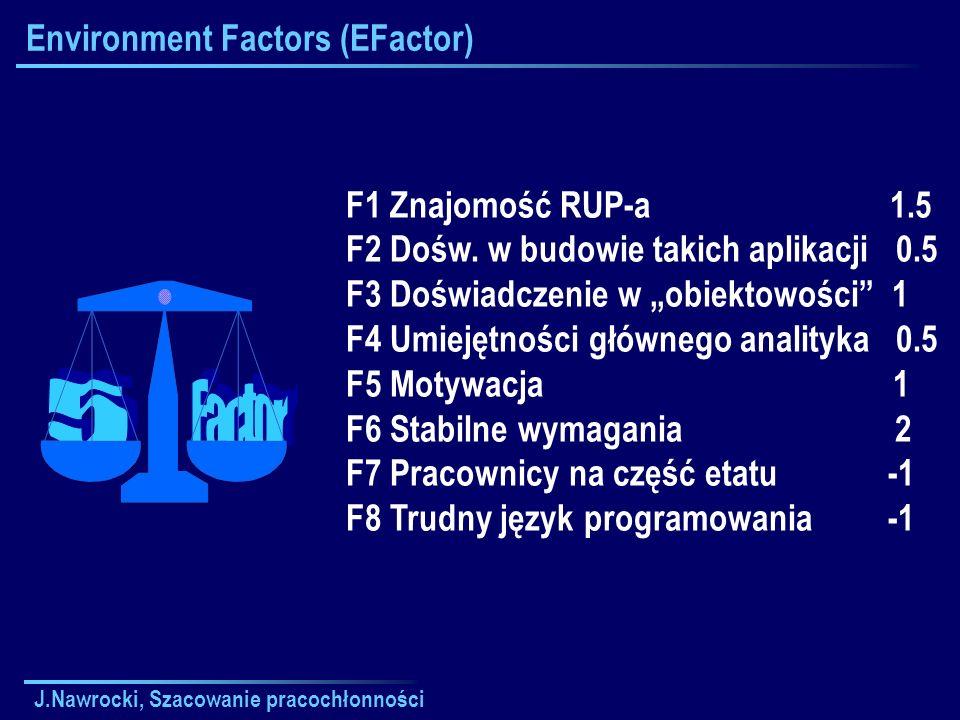 J.Nawrocki, Szacowanie pracochłonności Environment Factors (EFactor) F1 Znajomość RUP-a 1.5 F2 Dośw. w budowie takich aplikacji 0.5 F3 Doświadczenie w