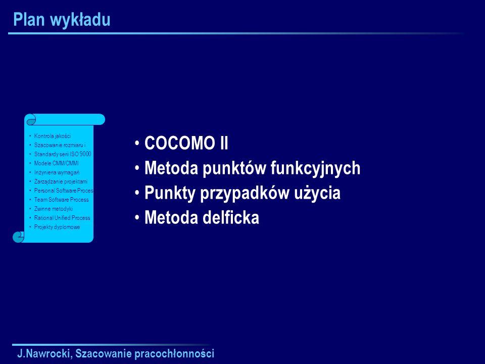 J.Nawrocki, Szacowanie pracochłonności Plan wykładu COCOMO II Metoda punktów funkcyjnych Punkty przypadków użycia Metoda delficka Kontrola jakości Szacowanie rozmiaru i Standardy serii ISO 9000 Modele CMM/CMMI Inżynieria wymagań Zarządzanie projektami Personal Software Process Team Software Process Zwinne metodyki Rational Unified Process Projekty dyplomowe
