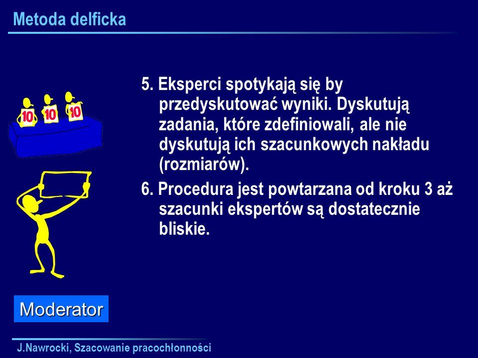 J.Nawrocki, Szacowanie pracochłonności Metoda delficka 5. Eksperci spotykają się by przedyskutować wyniki. Dyskutują zadania, które zdefiniowali, ale