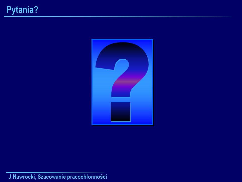 J.Nawrocki, Szacowanie pracochłonności Pytania?