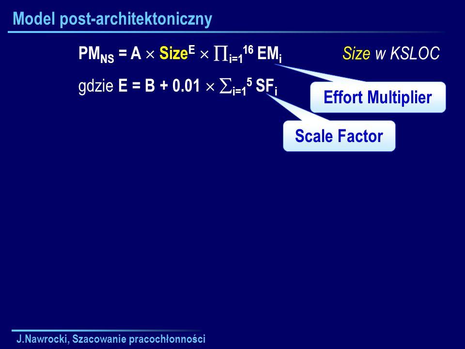 J.Nawrocki, Szacowanie pracochłonności Model post-architektoniczny PM NS = A Size E i=1 16 EM i gdzie E = B + 0.01 i=1 5 SF i Wartości A, B skalibrowane na podstawie 161 projektów: A = 2.94 B = 0.91 Size w KSLOC Dla przeciętnego projektu EM i = 1.
