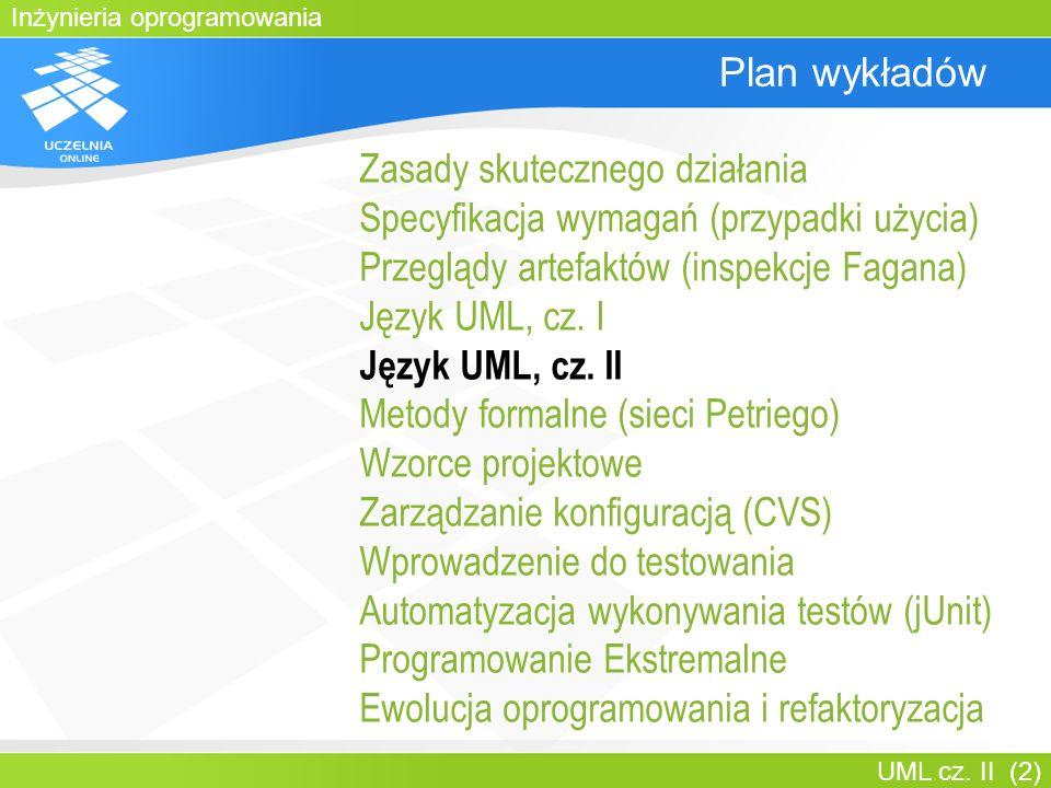 Inżynieria oprogramowania UML cz. II (2) Plan wykładów Zasady skutecznego działania Specyfikacja wymagań (przypadki użycia) Przeglądy artefaktów (insp