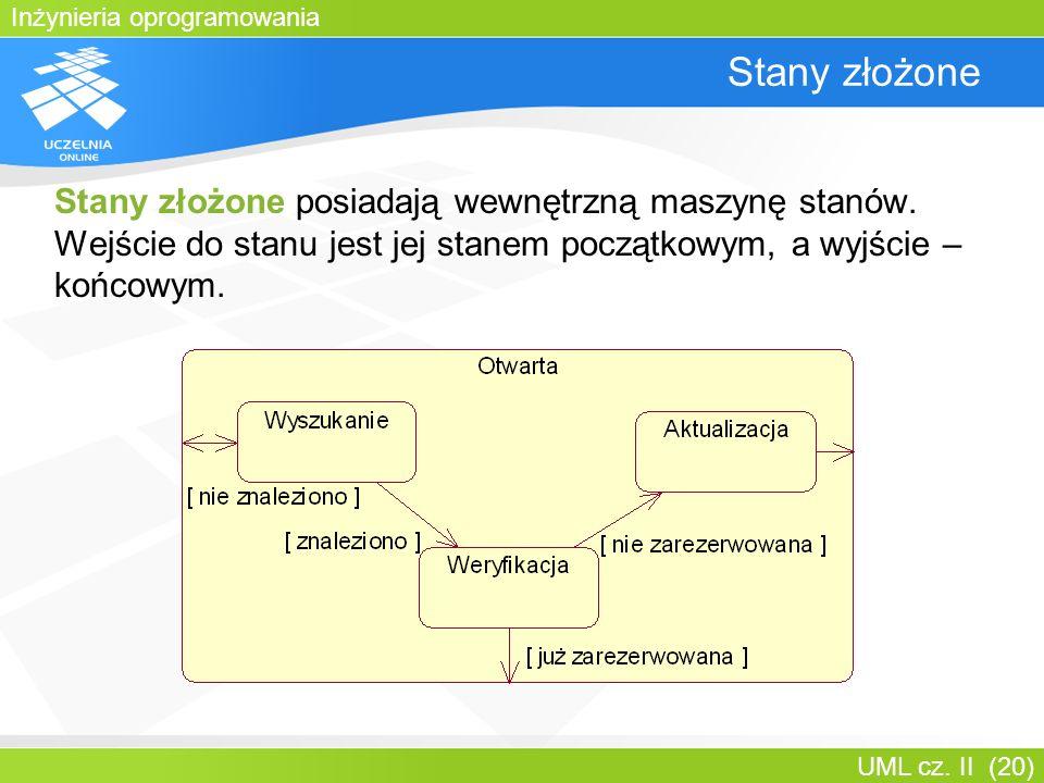 Inżynieria oprogramowania UML cz. II (20) Stany złożone Stany złożone posiadają wewnętrzną maszynę stanów. Wejście do stanu jest jej stanem początkowy