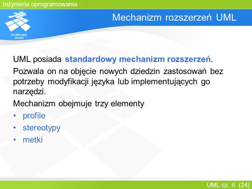Inżynieria oprogramowania UML cz. II (24) Mechanizm rozszerzeń UML UML posiada standardowy mechanizm rozszerzeń. Pozwala on na objęcie nowych dziedzin