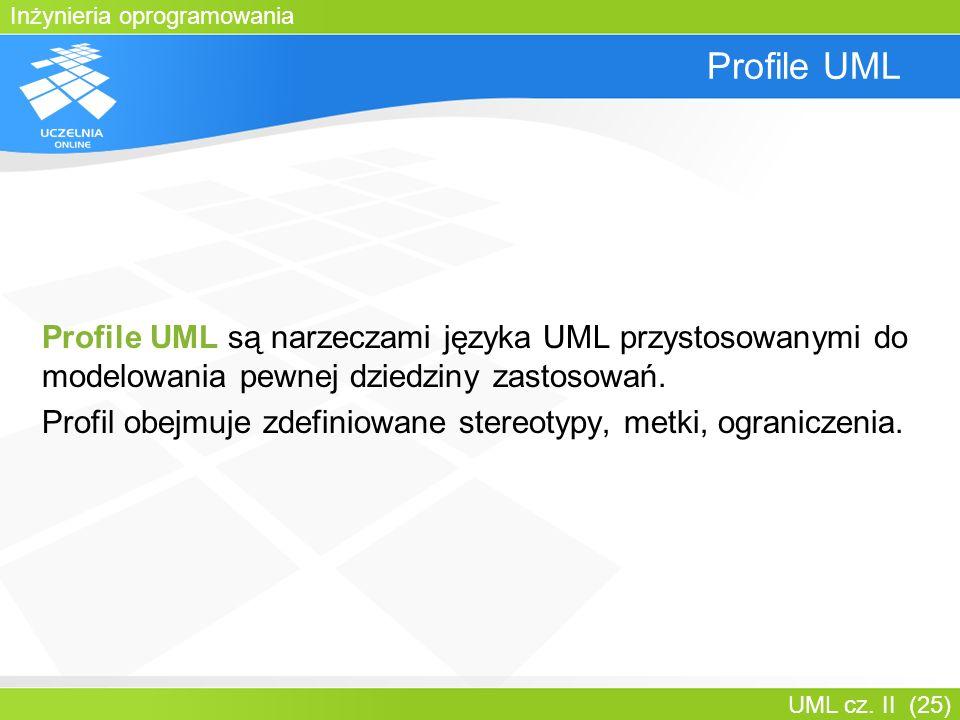 Inżynieria oprogramowania UML cz. II (25) Profile UML Profile UML są narzeczami języka UML przystosowanymi do modelowania pewnej dziedziny zastosowań.