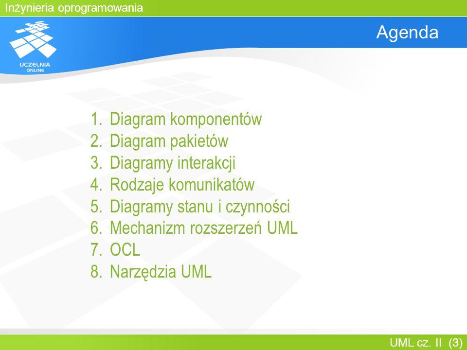 Inżynieria oprogramowania UML cz. II (3) Agenda 1.Diagram komponentów 2.Diagram pakietów 3.Diagramy interakcji 4.Rodzaje komunikatów 5.Diagramy stanu