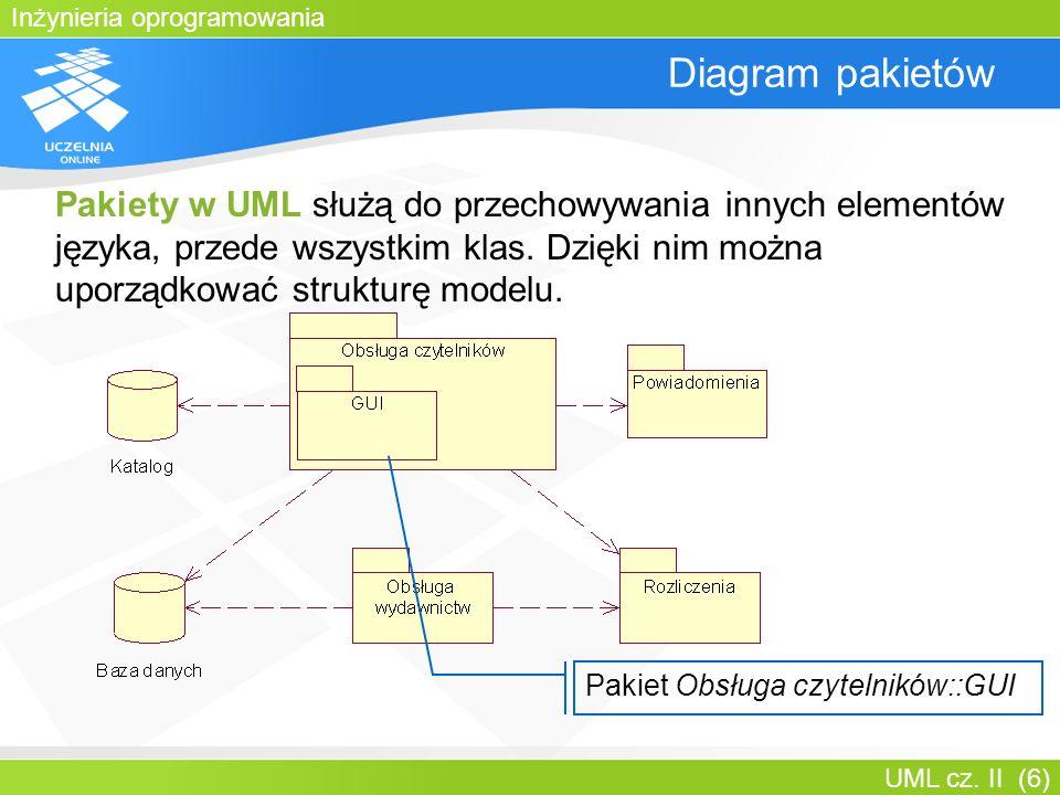 Inżynieria oprogramowania UML cz. II (6) Diagram pakietów Pakiety w UML służą do przechowywania innych elementów języka, przede wszystkim klas. Dzięki