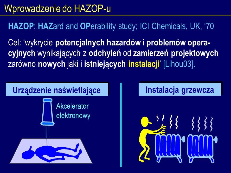 Wprowadzenie do HAZOP-u Instalacja grzewcza Urządzenie naświetlające Akcelerator elektronowy HAZOP : HAZ ard and OP erability study; ICI Chemicals, UK