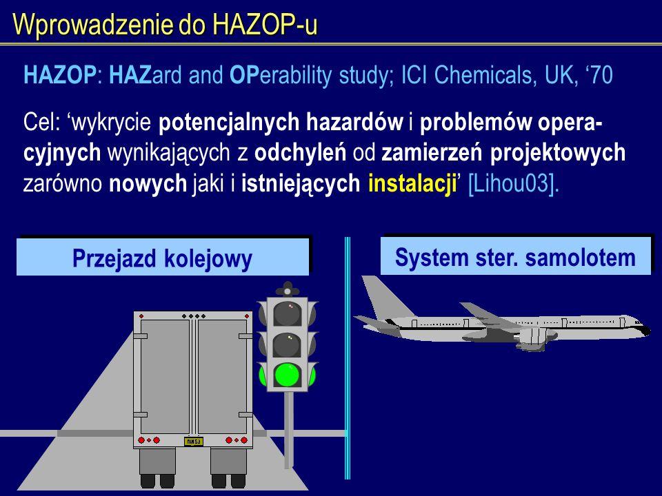 Wprowadzenie do HAZOP-u Przejazd kolejowy System ster. samolotem HAZOP : HAZ ard and OP erability study; ICI Chemicals, UK, 70 Cel: wykrycie potencjal