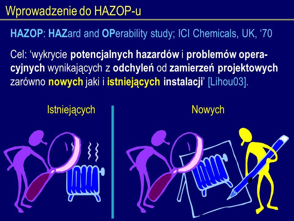 Wprowadzenie do HAZOP-u IstniejącychNowych HAZOP : HAZ ard and OP erability study; ICI Chemicals, UK, 70 Cel: wykrycie potencjalnych hazardów i proble