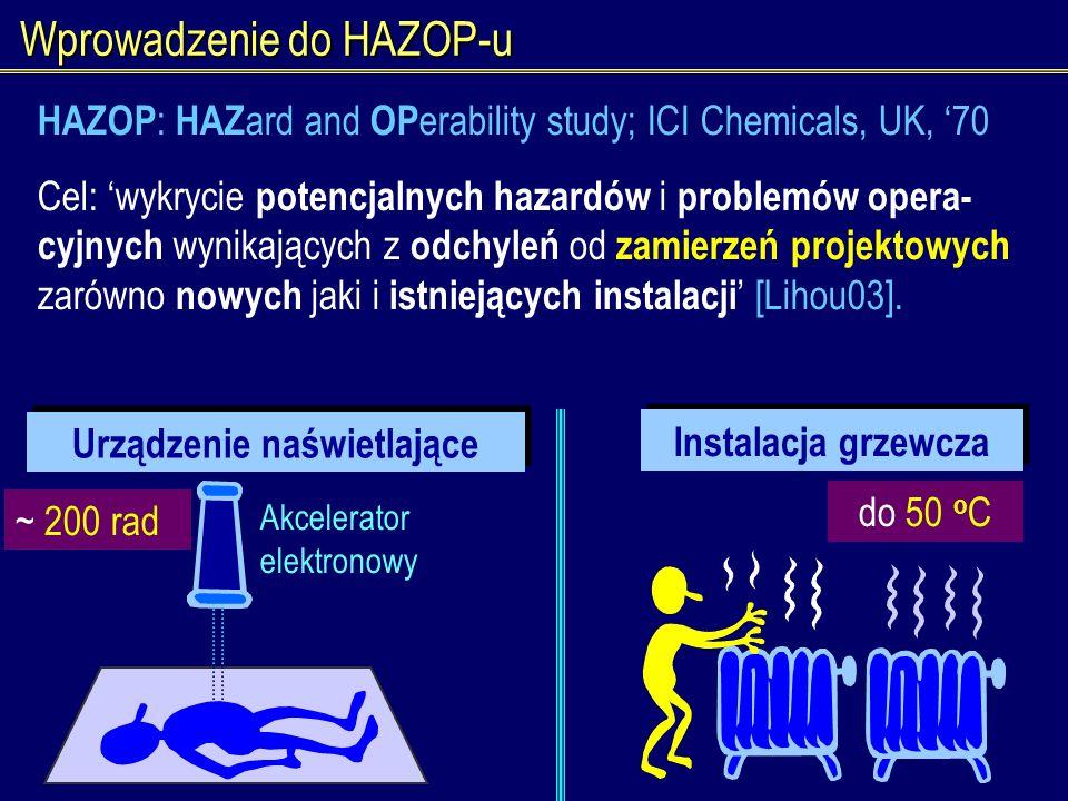 Wprowadzenie do HAZOP-u Instalacja grzewcza Urządzenie naświetlające Akcelerator elektronowy ~ 200 rad do 50 o C HAZOP : HAZ ard and OP erability stud