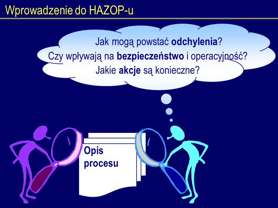 Wprowadzenie do HAZOP-u Opis procesu Jak mogą powstać odchylenia ? Czy wpływają na bezpieczeństwo i operacyjność? Jakie akcje są konieczne?