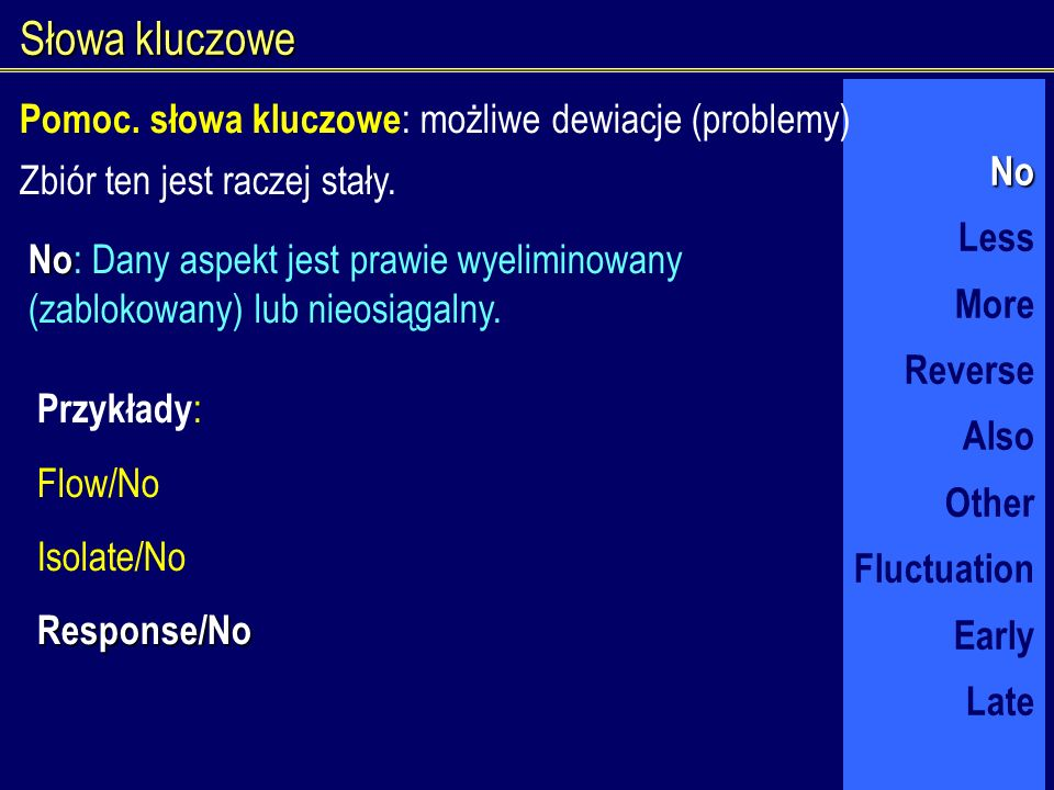 Słowa kluczowe No Less More Reverse Also Other Fluctuation Early Late Zbiór ten jest raczej stały. No No : Dany aspekt jest prawie wyeliminowany (zabl