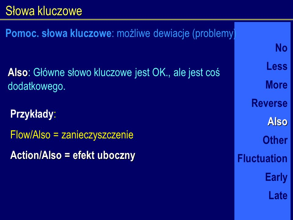 Słowa kluczowe No Less More ReverseAlso Other Fluctuation Early Late Also Also : Główne słowo kluczowe jest OK., ale jest coś dodatkowego. Przykłady :