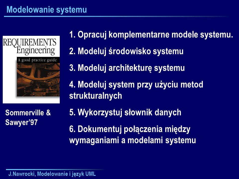 J.Nawrocki, Modelowanie i język UML Modelowanie systemu 1. Opracuj komplementarne modele systemu. 2. Modeluj środowisko systemu 3. Modeluj architektur