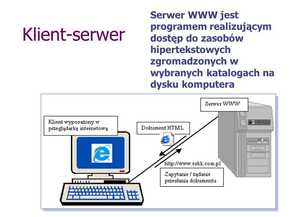 Klient-serwer Serwer WWW jest programem realizującym dostęp do zasobów hipertekstowych zgromadzonych w wybranych katalogach na dysku komputera