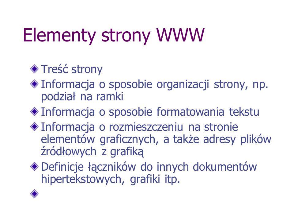 Elementy strony WWW Treść strony Informacja o sposobie organizacji strony, np. podział na ramki Informacja o sposobie formatowania tekstu Informacja o