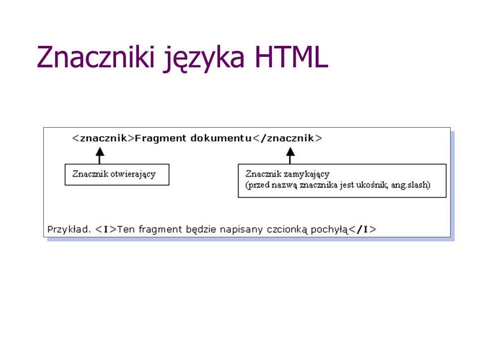 Znaczniki języka HTML