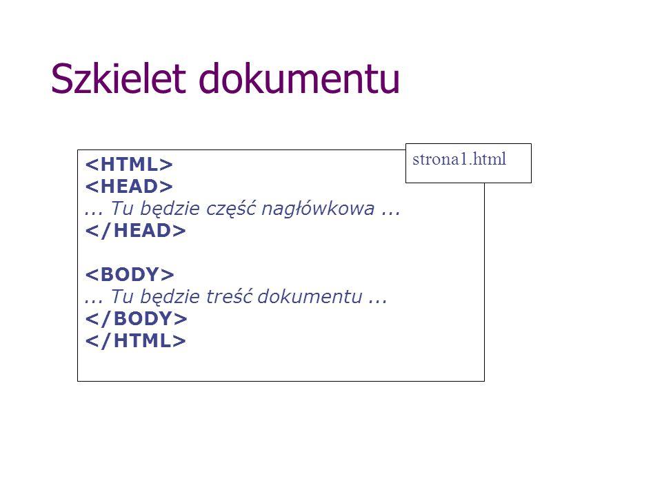 Szkielet dokumentu... Tu będzie część nagłówkowa...... Tu będzie treść dokumentu... strona1.html