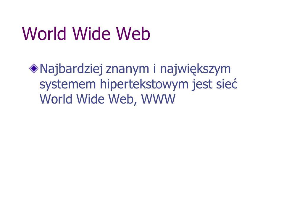 World Wide Web Najbardziej znanym i największym systemem hipertekstowym jest sieć World Wide Web, WWW